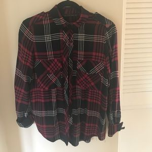 Zara basic plaid blouse